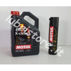 OFFERTA 5 litri Motul 8100 X-clean 5w40 + omaggio
